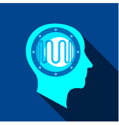 Clever brain icon flat style vector