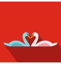 Couple of swans flat icon vector image