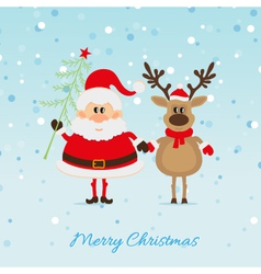 Santa claus with christmas tree and reindeer vector
