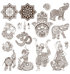 set of elements in the mehendi style vector image vector image