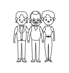 three family members cute cartoon icon image vector image vector image