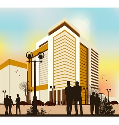 yellow city and peolpe vector image