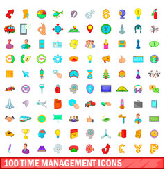 100 time management icons set cartoon style vector image vector image