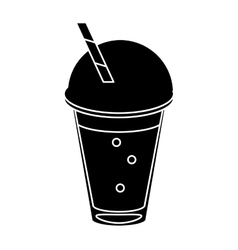frappe coffee straw take out container pictogram vector image