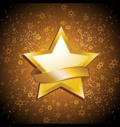 gold celebration star and banner vector image