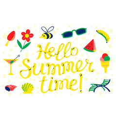 hello summer time lettering beach banner vector image