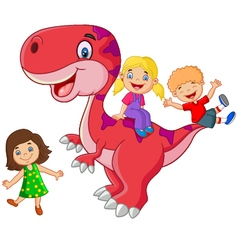 Little kid playing on the dinosaur vector image
