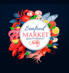 seafood poster template with crab vector image