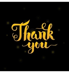Thank You Gold Lettering over Black vector image vector image