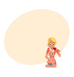 young mother combing her baby hair half length vector image