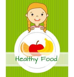 girl with fruit vector image vector image