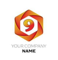 Number nine symbol on colorful hexagonal vector