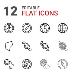 12 geography icons vector