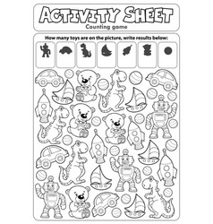 Activity sheet counting game 7 vector