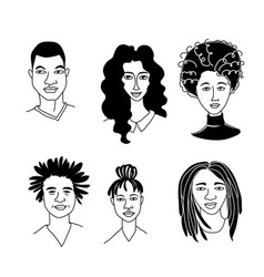 Afro african american black womens mens portraits vector