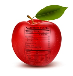 Apple with nutrition facts label Concept of vector image