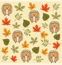 Autumn seamless pattern with leaves and hedgehogs vector