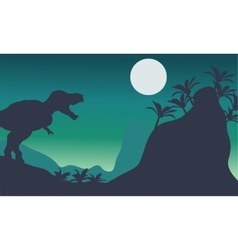 Beautiful scenery tyrannosaurus at the night vector image