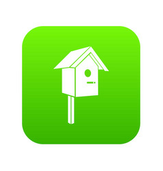 birdhouse icon green vector image