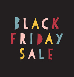 black friday sale banner kids handwritten vector image