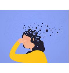Brain damage woman loses part head falling apart vector