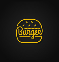 burger linear logo yellow on background vector image