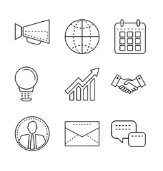 business icons set with thin line elements for vector image