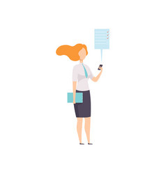 businesswoman working with document using mobile vector image