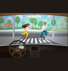 Car interior driver point view vector