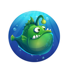 cartoon funny green fish vector image