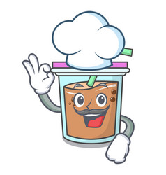 Chef bubble tea character cartoon vector
