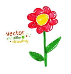 Childlike drawing of flower vector image
