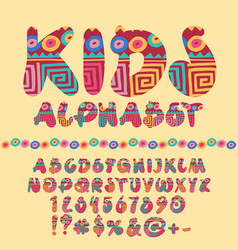 Children bright motley pattern alphabet set vector