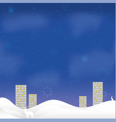 christmas night card high-rise houses snow border vector image