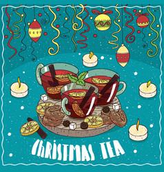 Christmas tea with christmas toys and confetti vector