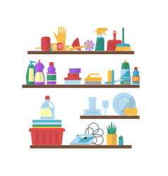 cleaning flat elements on shelves vector image
