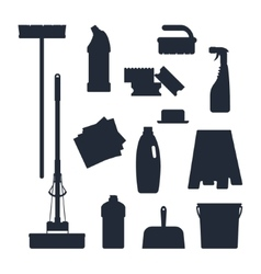 Cleaning service Set house tools icons logo black vector