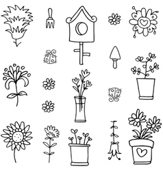 Collection of spring doodle set vector