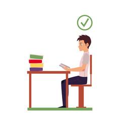 Correct head posture sitting at desk vector