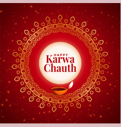 Creative happy karwa chauth festival decorative vector