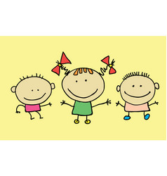 cute cartoon kids girl and boy vector image