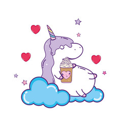 Cute ice cream with cloud and unicorn kawaii vector