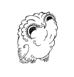 Cute Owl Doodle Grunge Kawaii Picture vector image