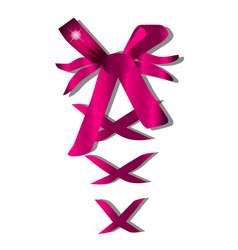 decorative pink bow with horizontal ribbon on vector image