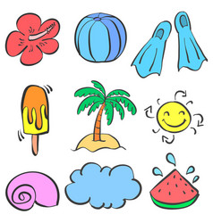 Doodle element summer set style vector