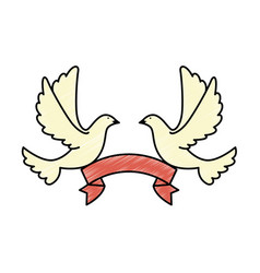 Doves of peace with ribbon vector