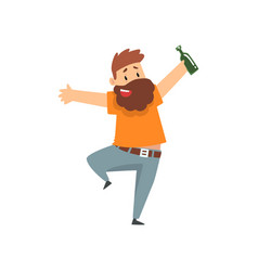 Drunk bearded man with bottle of alcohol drink in vector