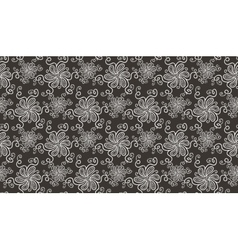 Elegant white flower seamless pattern on brown vector image
