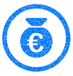 Euro money bag rounded icon rubber stamp vector
