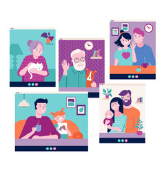 Family grandparents children couple young vector
